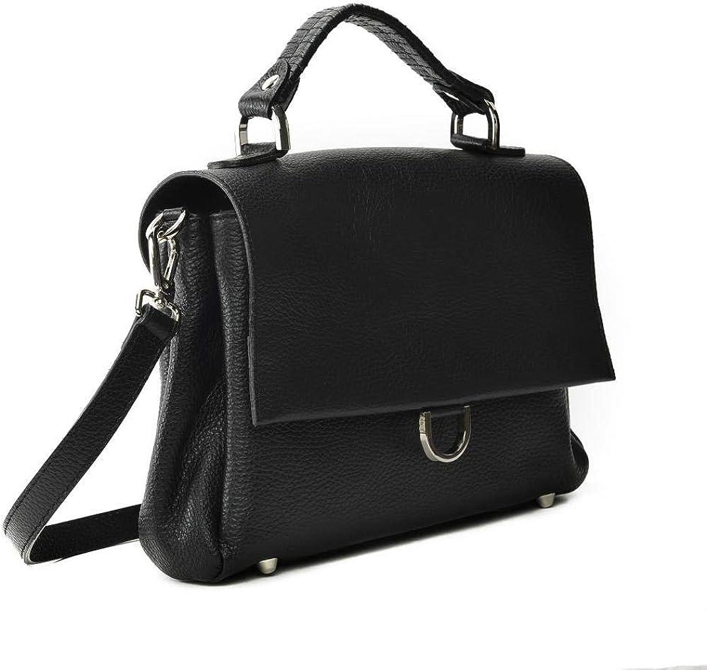 OH MY BAG Sac porté épaule Cuir porté main bandoulière et de travers Femmes en véritable cuir fabriqué en Italie - modèle LEWIS - SOLDES Noir