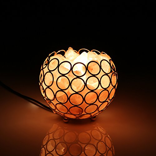 Himalayan Salt Lamps, European Style Creative and Fashionable Bedside Lamp Golden Metal basket Design, 2 Bulb with UL Cord (Baskets By Design)