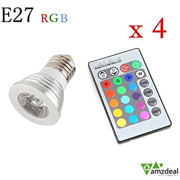 amzdeal® 4x E27 RGB bombillas led, 3W bombillas bajo consumo, LED Lámpara Luz