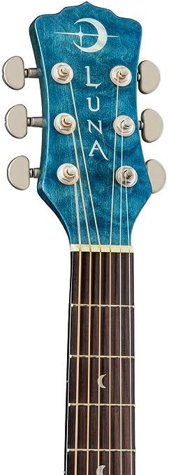 Luna FAU DF QM Fauna Dragonfly Guitarra de arce acolchada, paquete ...