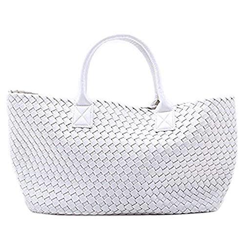 New Womens Woven Tote Handbags Shopping Bag Beach bag w/Bonus Coin Pouch (White) ()
