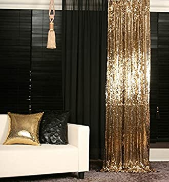 2PCS Gold Sequin Curtain Backdrop W60xL250cm Shimmer Fabric Photography Luxury Curtains For Bedroom