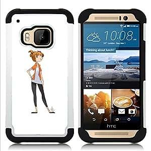 "HTC One M9 /M9s / One Hima - 3 en 1 impreso colorido de Altas Prestaciones PC Funda chaqueta Negro cubierta gel silicona suave (Carácter Dibujo White Girl minimalista"")"
