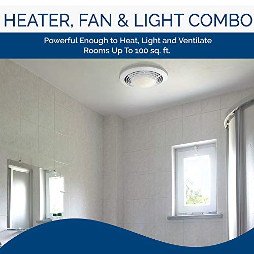Broan-Nutone  9093WH  Exhaust Fan, Heater, and Light Combo, Bathroom Ceiling Heater, 1500-Watts, 70 CFM