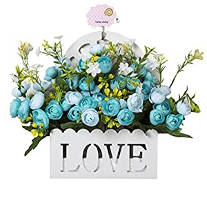 Blancho Bedding Home Decoration Artificial Faux Wedding Silk Flowers Bush with Basket,k 113