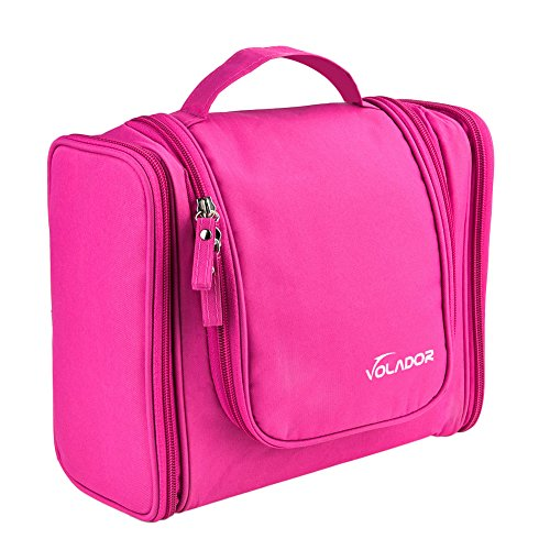 VOLADOR Toiletry Travel Bag,Waterproof Hanging Toiletry Bag Makeup Organizer,Portable Cosmetic Bag Set Bathroom Storage Bag for Traveling,Vacation,Camping Outdoor Activities (Pink)