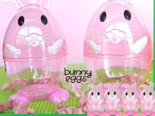 Clear Easter Bunny Shaped Easter Eggs 3 Fillable Treat Containers by Greenbrier