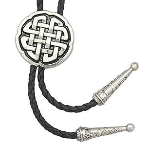 RechicGu Western Celtic Trinity Cross Knot Leather Rodeo Wedding Necktie Bola Bolo Tie