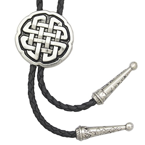 RechicGu Vintage Silver Western Celtic Trinity Cross Knot Leather Rodeo Wedding Necktie Bola Bolo Tie