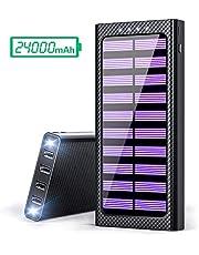 Gnceei Batería Externa 24000mAh 5.8A 4 Salidas Cargador Móvil Portátil Power Bank con 3 Entrada y 2 LED Ligero para Android/iOS Phones, Smartphones y Otros Tablet(Negro)