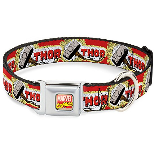 - Dog Collar Seatbelt Buckle Thor Hammer Red Yellow White 15 to 26 Inches 1.0 Inch Wide