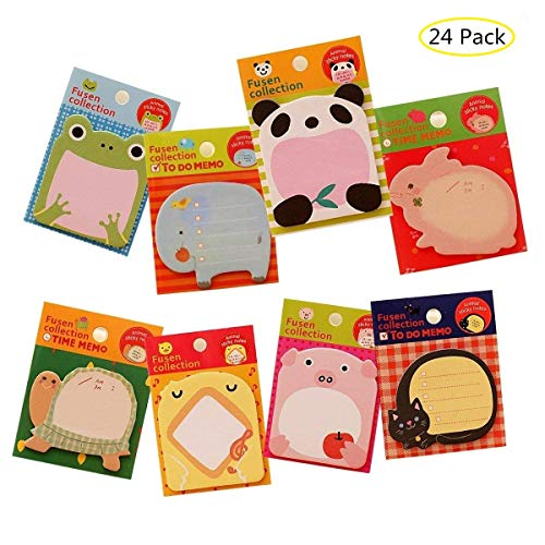 Naovio 24 Pack - Cute Animal Creative Sticky Note Memo Pads Index Tags Mini Message Self-Adhesive Sticky Paper Bookmark(20 sheets Pack - 480 sheets)