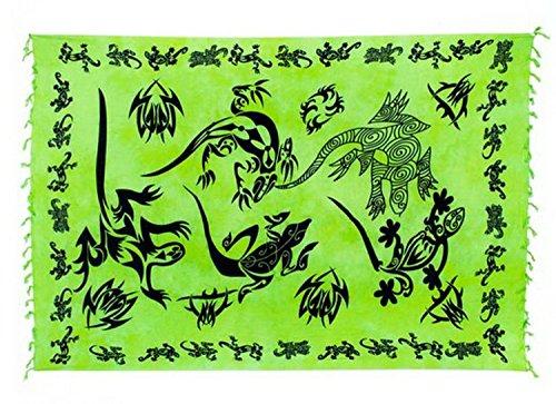 Sarong Pareo Wickelrock Strandtuch Handtuch Wickelkleid Strandkleid Schal ca. 170cm x 110cm Gecko Design Hellgrün