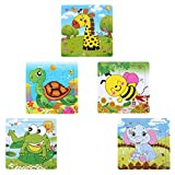Sumnacon 16 Piesce Wooden Animals Jigsaw Puzzles, Fancy Education And Learning Intelligence Toys Grown Up Puzzles for Toddlers Kids Children Up 2 Years, 5 Pack of Giraffe Elephant Turtles Frog Bees
