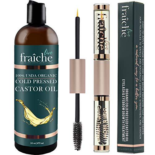 - (VALUE PACK: 16 oz Bottle + Double Ended Eyeliner Mascara Tube) USDA Organic Castor Oil for Eyelashes and Eyebrows, Hair Growth, Dry Skin - Cold Pressed Caster Oil Hair Growth Scalp Deep Conditioner