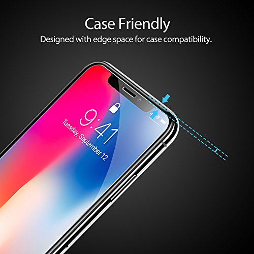[3 Paquetes] Protector de pantalla para iPhone X, Película protectora de pantalla de vidrio templado ultra claro GAVAER para iPhone X / 10, ...