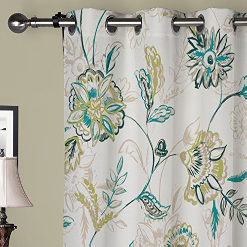 IYUEGO Country Graceful Artistic Floral Grommet Top Lined Blackout Curtains Draperies With Multi Size Custom72″ W x 63″ L (One Panel) Review