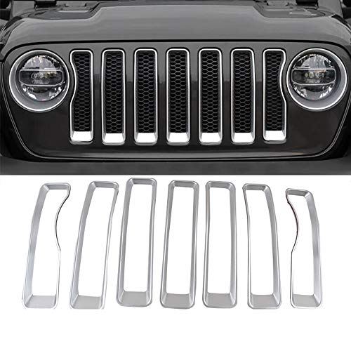 Silver Insert - Z8LED fit for Jeep Grill Insert ABS JL Silver Front Inserts Covers for original 2018 2019 Jeep Wrangler JL