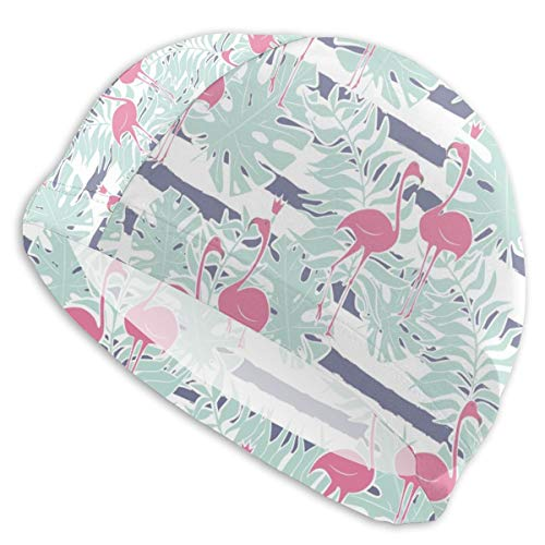 (Smany Pink Flamingo with Monstera and Leaf Adult Swim Caps,High Elasticity, No Deformation Use,UV Protection, Waterproof Comfy Swimming Bathing Cap for Men and Women)