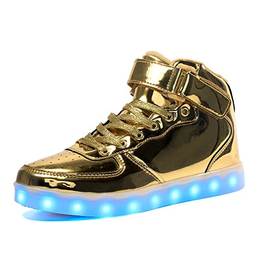 Voovix Kids LED Light Up High-Top Shoes Rechargeable Hi-Shine Glowing Sneakers For Boys and Girls Child Unisex(Gold,US4.5/CN37) (Cool High Tops Shoes)