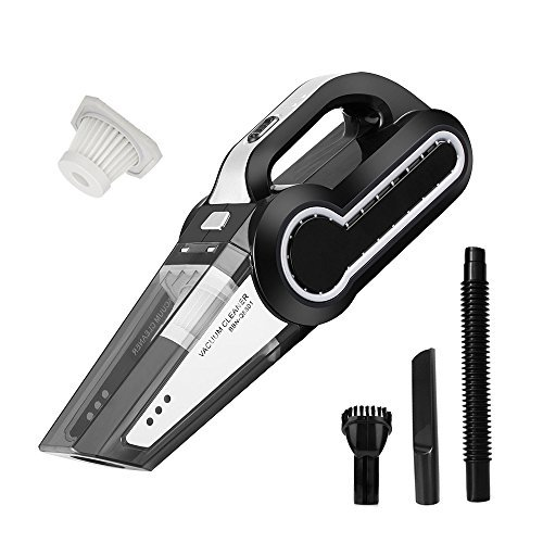 Dry Portable Vacuum (Cordless Vacuum, 12V 120W Portable Cordless Vacuum Cleaner, Wet & Dry Hand-held Car Vacuum, Dust Busters for Home or Car with 4KPa Suction, Pet Hair Eraser, LED Light by Dr. Auto)