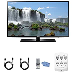 Samsung UN50J6200 50-Inch Full HD 1080p Smart LED TV Bundle with HDMI to HDMI cable - 6 Feet(1.8 Meters) + 6 Outlet Wall Tap Surge Protector with Dual 2.1A USB Ports + Cleaning Kit
