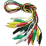 Haitronic 10-Piece(5 Pairs 5 Color) 48CM/18.9inch Double Ended Test Lead with Alligator Clips/Crocodile Jumper Lead for Testing Circuit Connector Micro: Bit Arduino Raspberry pi Banana PI/Makey Makey