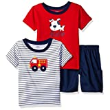 Gerber Toddler Boys' 3 Playwear Set 2/Shirts 1/ Woven Short, Fire Engine, 3T