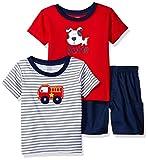 Image of Gerber Baby Boys' 3 Piece Shirt and Short Playwear Set,  Fire Engine, Newborn