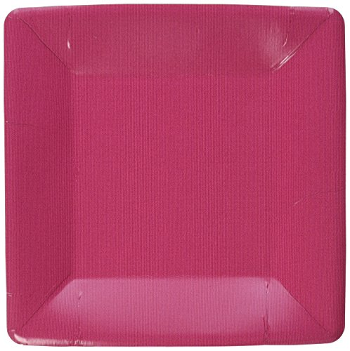 Caspari Entertaining Grosgrain Border Rose Square Salad/Dessert Plates, 8-Pack Pink Stripe Border