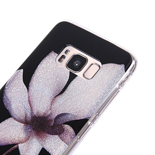 Galaxy S8 Bling Case, Samsung S8 Cover, BONROY® Ultra-Thin Soft Gel TPU Silicone Case For Samsung Galaxy S8, Luxury Glitter Sparkle Perfect Fit Slim Sturdy Bumper Scratch Resist Protective Clear Cute Magnolia flower