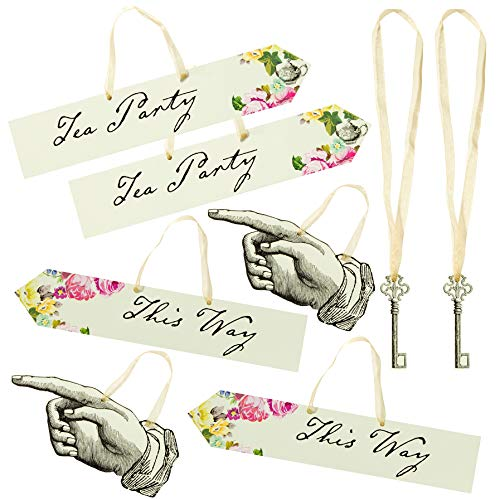 Talking Tables Truly Alice Mad Hatter Scene Setter Signs for a Tea Party or Wedding, Multicolor (16 Pack)