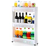 go2buy 3 Tiers Slim Storage Cart Slide Out Storage Kitchen Trolley Spice Rack with Rolling Castors
