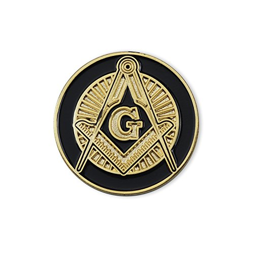 Shining Square & Compass Round Black & Gold Masonic Lapel Pin - 1
