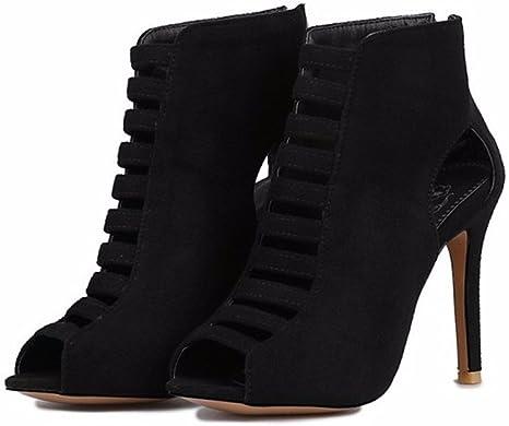 Rff Women S Shoes Europa Y Los Estados Unidos Zapatos De Tallas Grandes Botas Altas Botas De Gamuza Zapatos De Mujer Sandalias Boca De Pescado Negro 33 Amazon Es Deportes Y Aire Libre