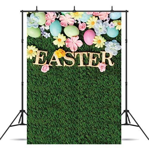 Dudaacvt 6x9ft Happy Easter Photography Backdrops Green Grass Photo Background Colorful Eggs Children Kids Adult Portraits Photo Studio Seamless -