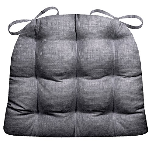 Barnett Products Wrought Iron Chair Cushion - Rave Grey - Indoor/Outdoor: Mildew Resistant, Fade Resistant - Reversible, Latex Foam Fill (Solid Color, Graphite Gray)