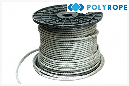 Clear Plastic Coated Wire Rope 6mm 15meters lenght Poly-rope