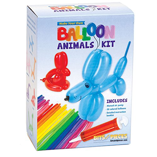 Bits and Pieces - DIY Balloon Animals Craft Kit - Pack of 50 Colorful Balloons, Durable Pump & Instructions ()