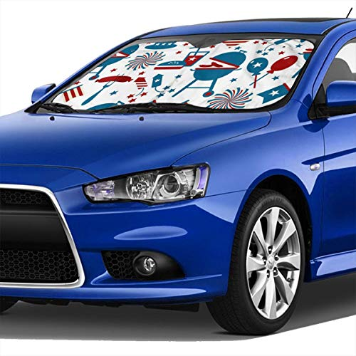Windshield Sun Shade Fourth of July Party and Memorial Day Icons Image,Foldable Sun Shield Keeps Your Vehicle Cool
