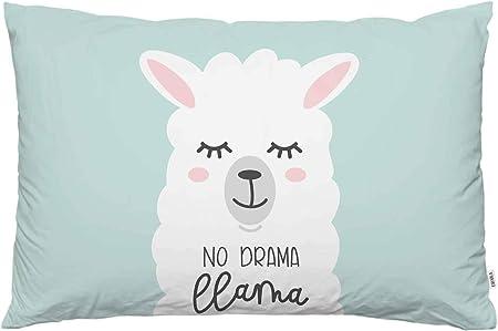 EKOBLA Throw Pillow Cover No Drama Llama Cartoon