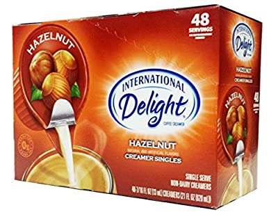 Hazelnut Non-Dairy Creamer Cups, International Delight, 48 Single Serve Coffee Creamer Cups by International Delight