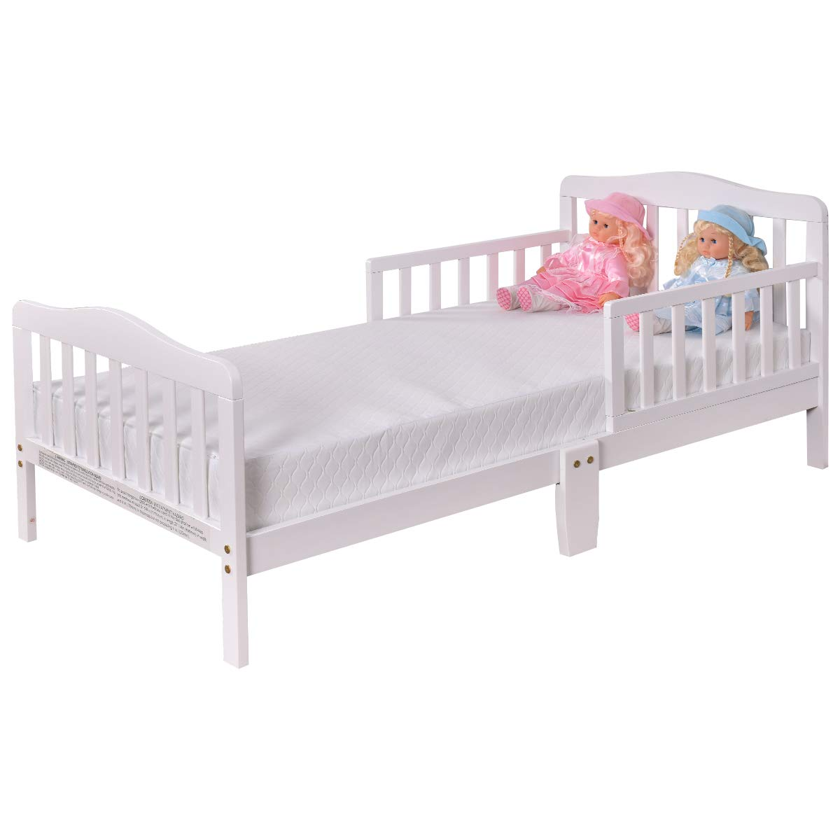Costzon Toddler Bed, Wood Kids Bedframe Children Classic Sleeping Bedroom  Furniture w/Safety Rail Fence (White)