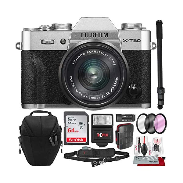 51nI%2ByPuC9L. SS600  - Fujifilm X-T30 4K Wi-Fi Mirrorless Digital Camera with XC 15-45mm Lens Kit - Silver with 64GB Deluxe Bundle and Travel…