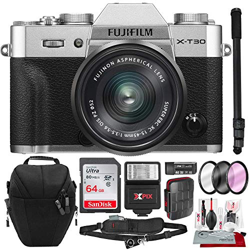 Fujifilm X-T30 4K Wi-Fi Mirrorless Digital Camera with XC 15-45mm Lens Kit – Silver with 64GB Deluxe Bundle and Travel Photo Cleaning Kit