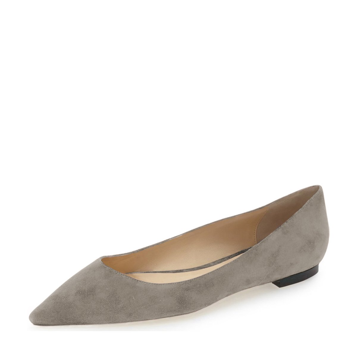 YDN Women Classic Pointy Toe Flats Suede Casual Shoes Low Cut Slip On Soft B01N1FMD1Q 12 B(M) US|Taupe