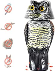 Owl Decoy with Rotating Head, Ohuhu Fake Horned Owl Decoy with Scary Sounds, Bird Repellent Scarecrow, Bird De