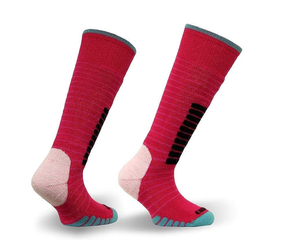 Pink//Jade X-Small Eurosock Unisex Child Little Kids Supreme Junior Ski Socks