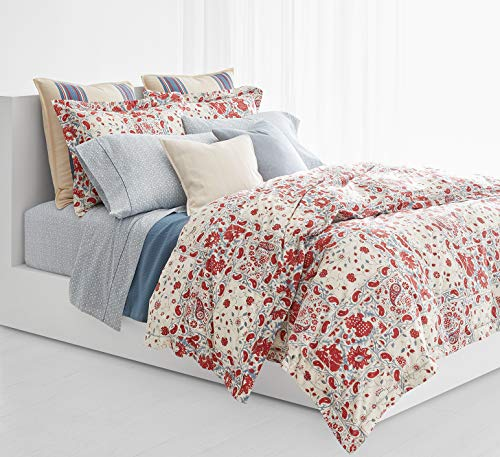 Ralph Lauren Kelsey 3 Piece Comforter Set, Red and Light Blue Floral Paisley