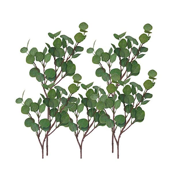 Oriental Goodpick – Life Like Artificial 5 Pcs Silver Dollar Eucalyptus – 25.6″ Tall – for Room, Table, Wreath – Flexible Faux Greenery Garland – Fake Stem Wire Plastic Spray Branches Leaves